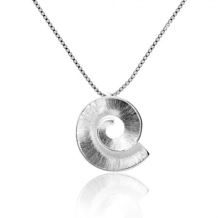 Azendi Silver frosted spiral pendant