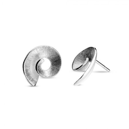 Azendi Silver frosted spiral stud earrings