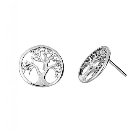 Azendi Sterling silver tree of life studs