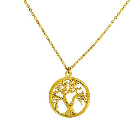 Azendi Gold vermeil tree of life necklace