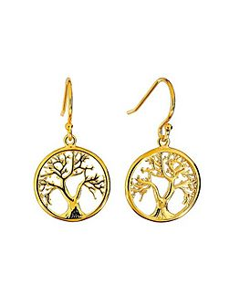 Gold vermeil tree of life earring
