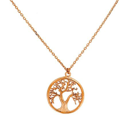 Azendi Rose vermeil tree of life necklace