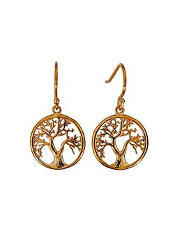 Rose vermeil tree of life earring