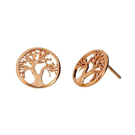 Azendi Rose vermeil tree of life studs