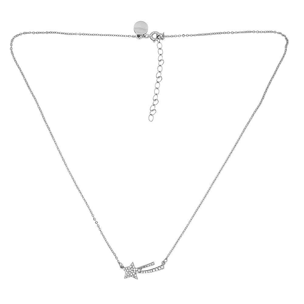 Azendi Azendi Silver & pavé shooting star necklace, N/A