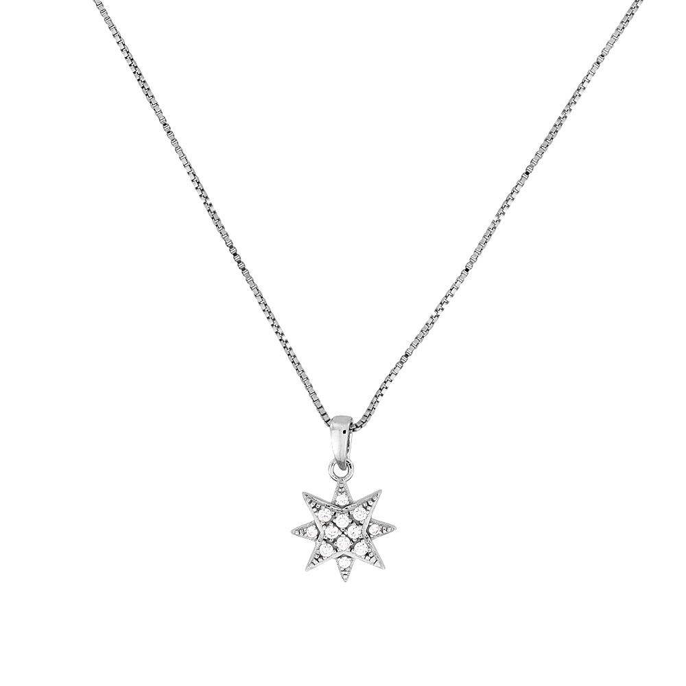 Azendi Azendi Silver & pavé eight-point star pendant, N/A