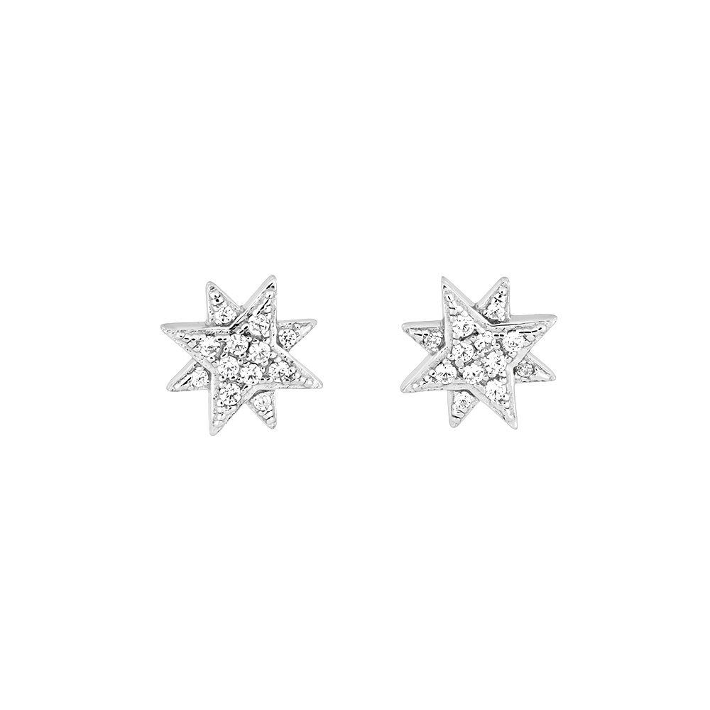 Azendi Azendi Silver & pavé eight-point star studs, N/A