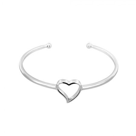 Azendi Silver open heart bangle