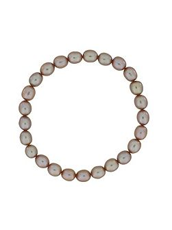Peach pearl stretch bracelet