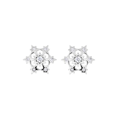 Azendi Starburst silver snowflake earrings