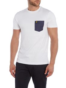 Woven Pocket Crew Neck T-Shirt
