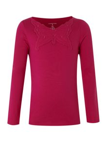 Girl`s applique front tee