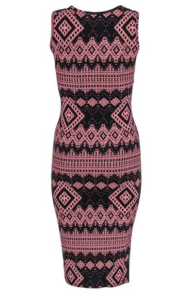 Quiz Aztec print necklace dress