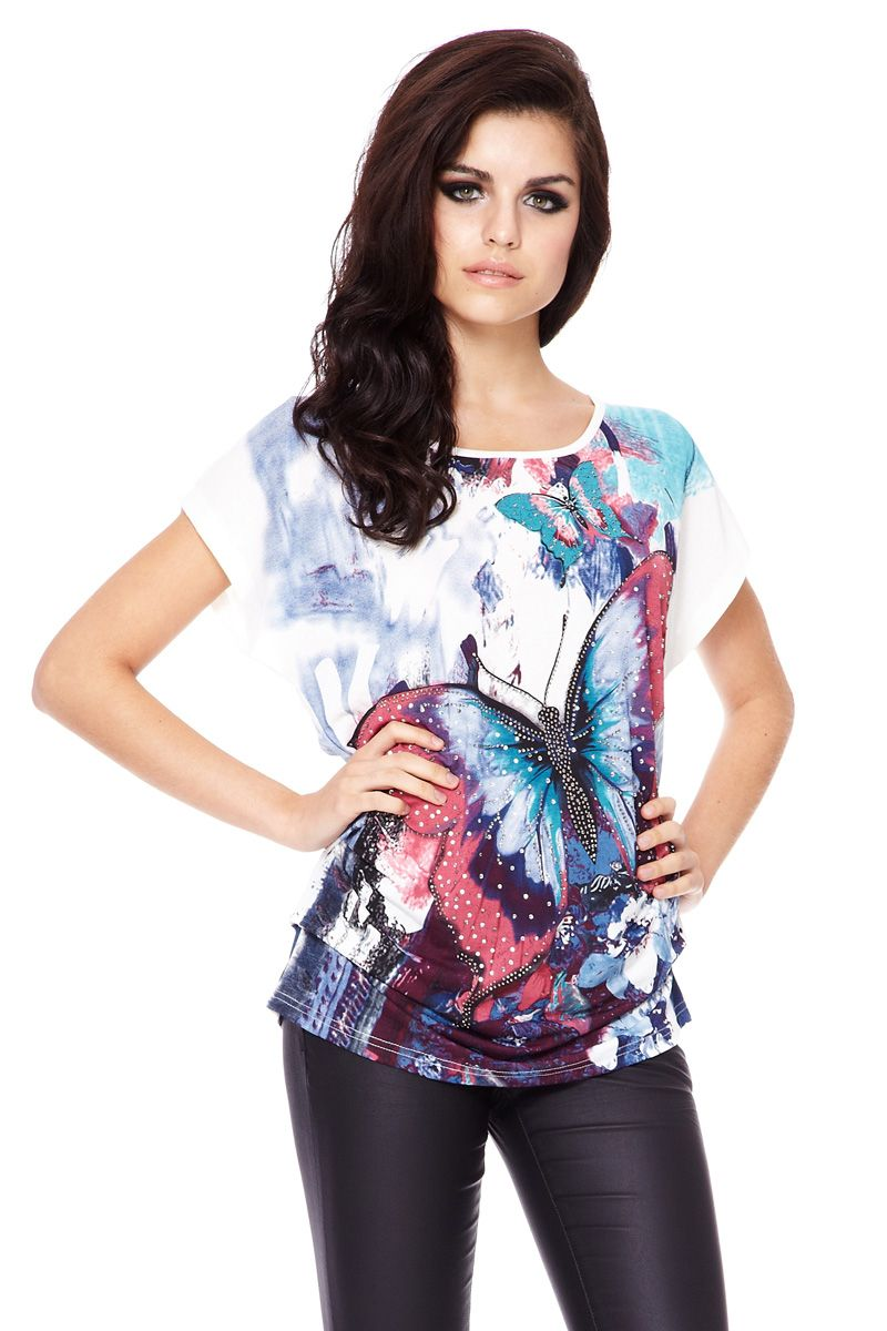 Butterfly print embellished top