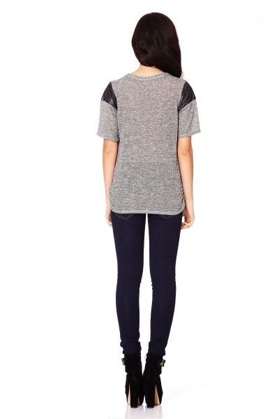Quiz Grey lurex knit top