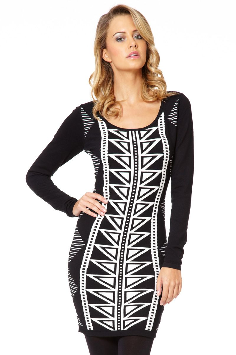 Black and cream abstract knit dress