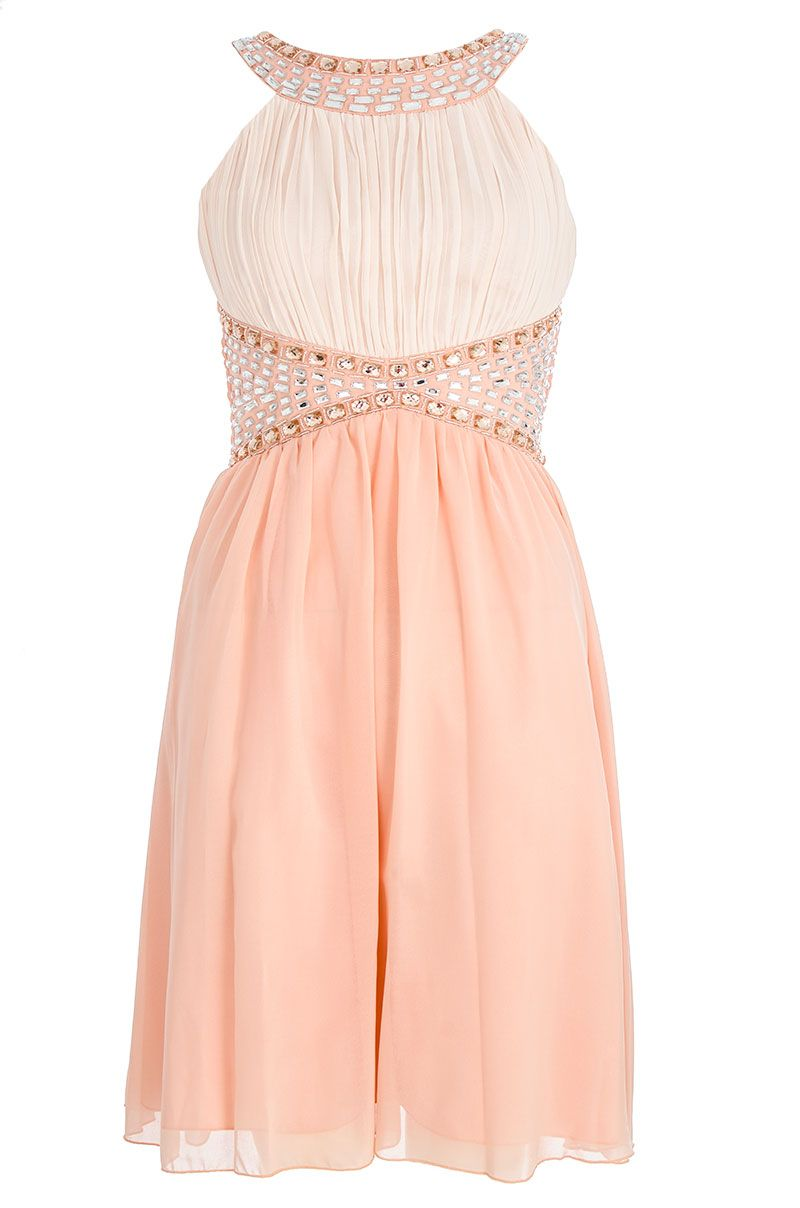 Chiffon two tone embellished dress