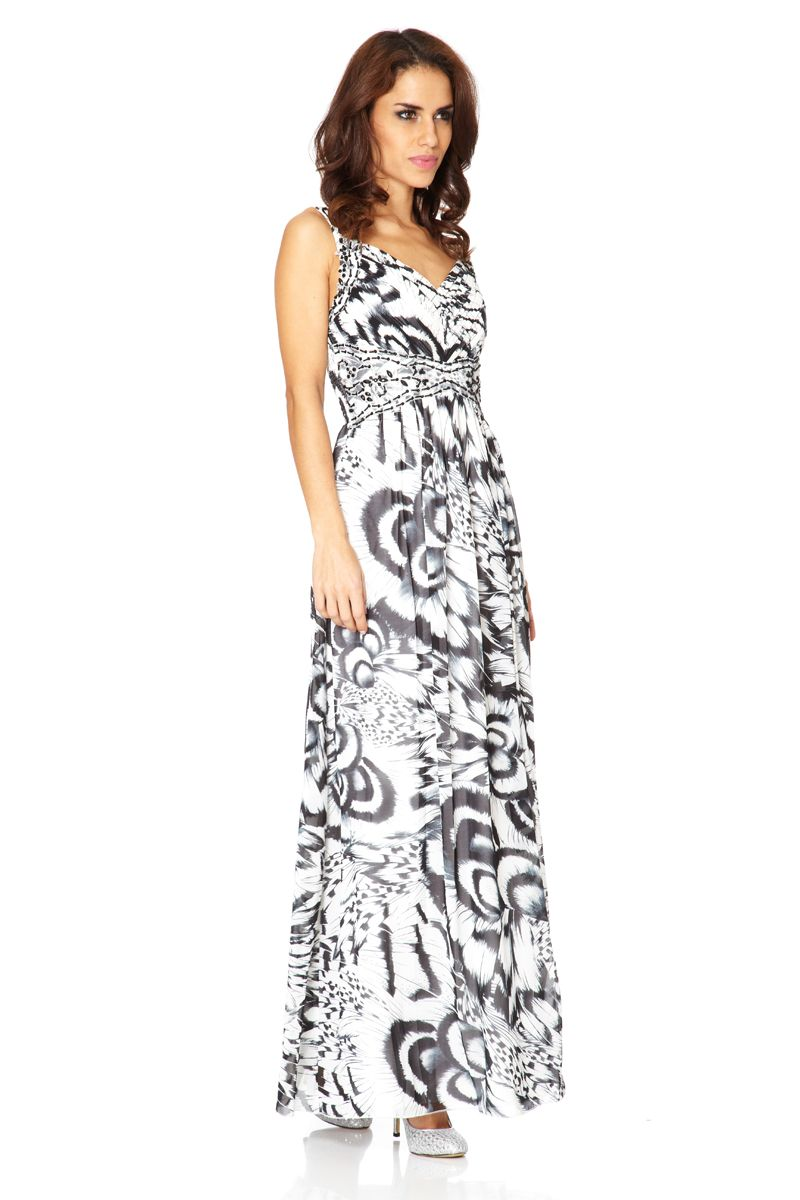 Chiffon feather print jewel & maxi dress