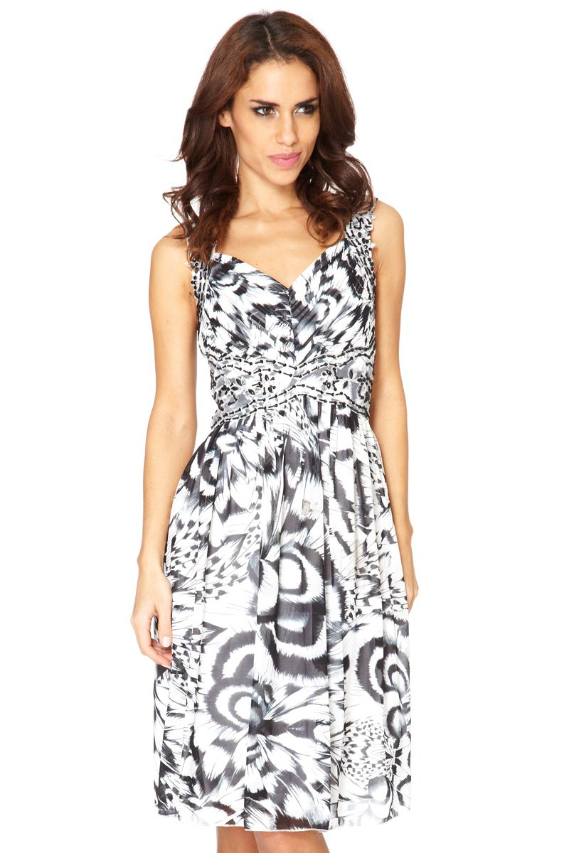 Chiffon feather print & jewel dress