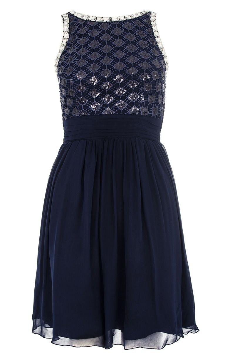 Sequin lattice embellished dress