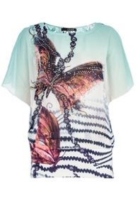 Lace back butterfly print top