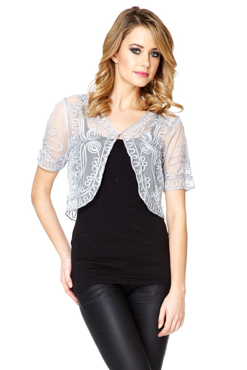 Mesh embroidery shrug