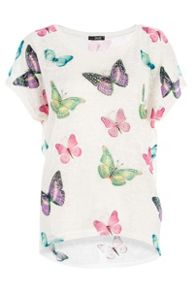 Butterfly print light knit top
