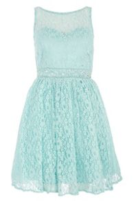 Pearl and stone lace waist dress
