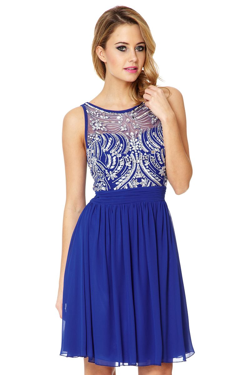 Chiffon sequin embellished dress