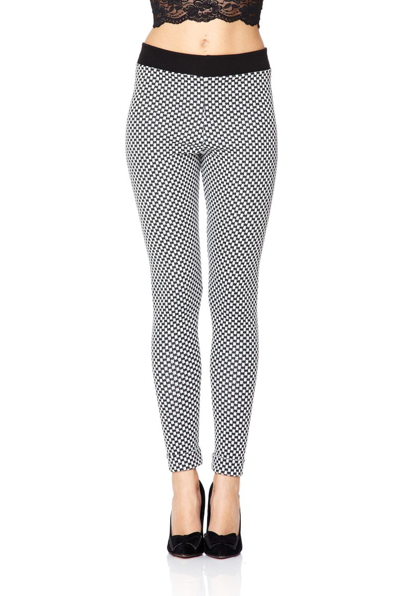 Jacquard print turn-up hem leggings
