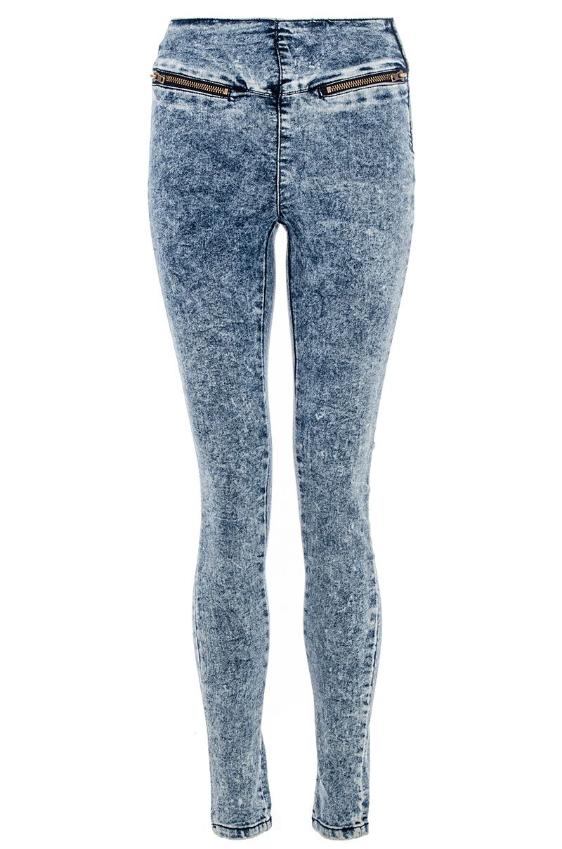 Acid wash zip skinny jeans