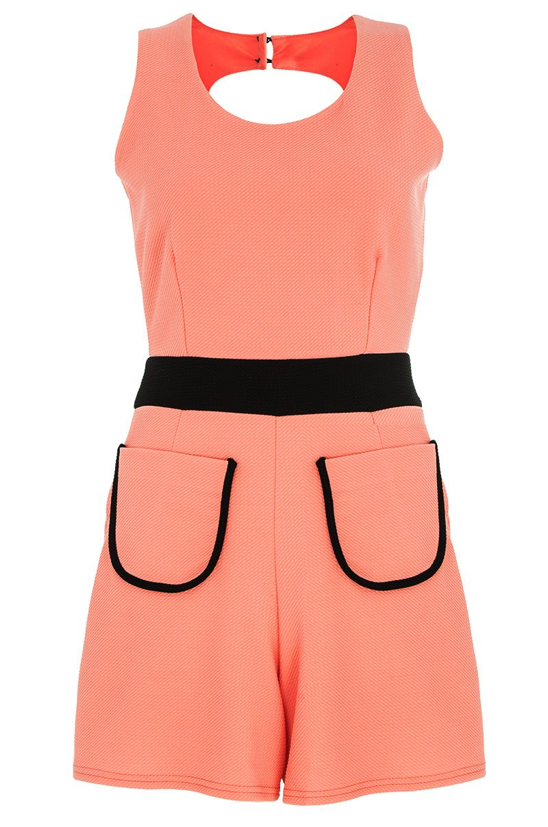 Textured cut out playsuit
