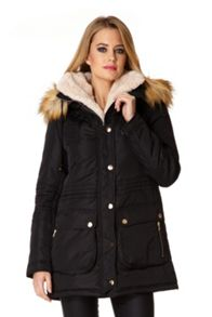 Faux Fur Trim Hood Parka Jacket