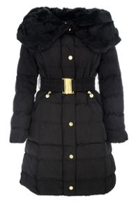 Padded Big Faux Fur Collar Jacket