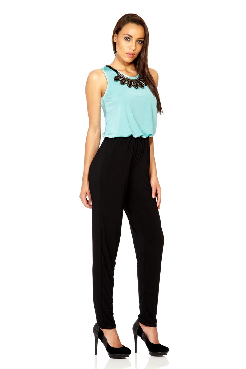 Contrast necklace jumpsuit
