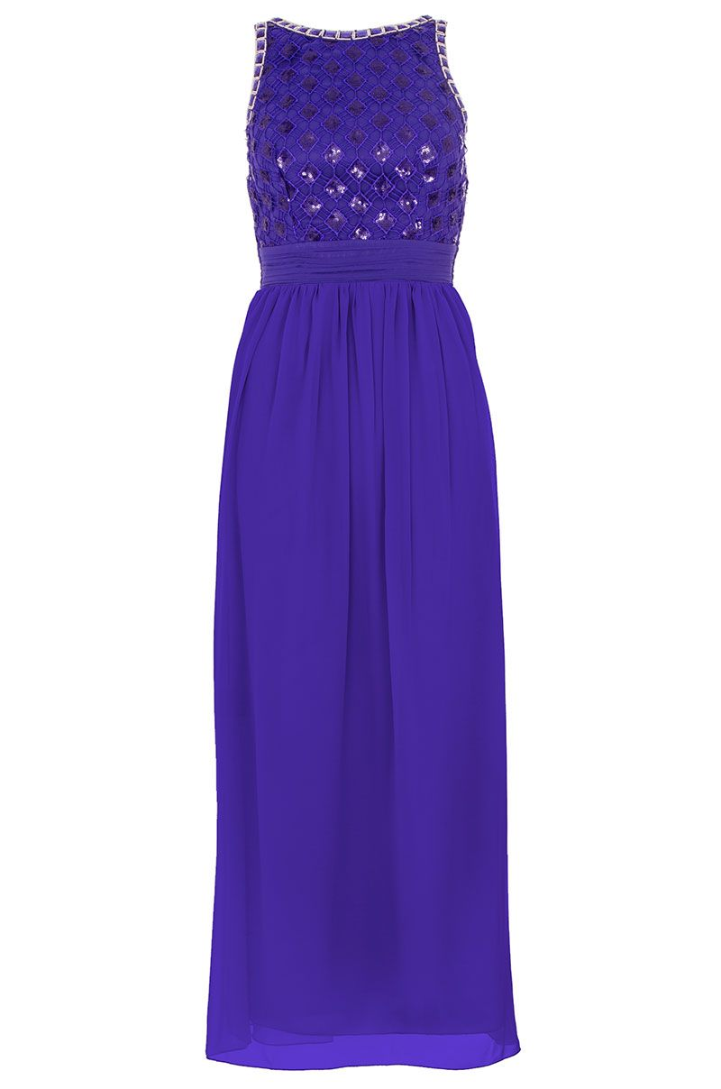 Sequin Lattice Embellished Maxi Dress