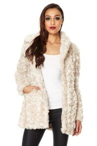 Rose faux fur coat