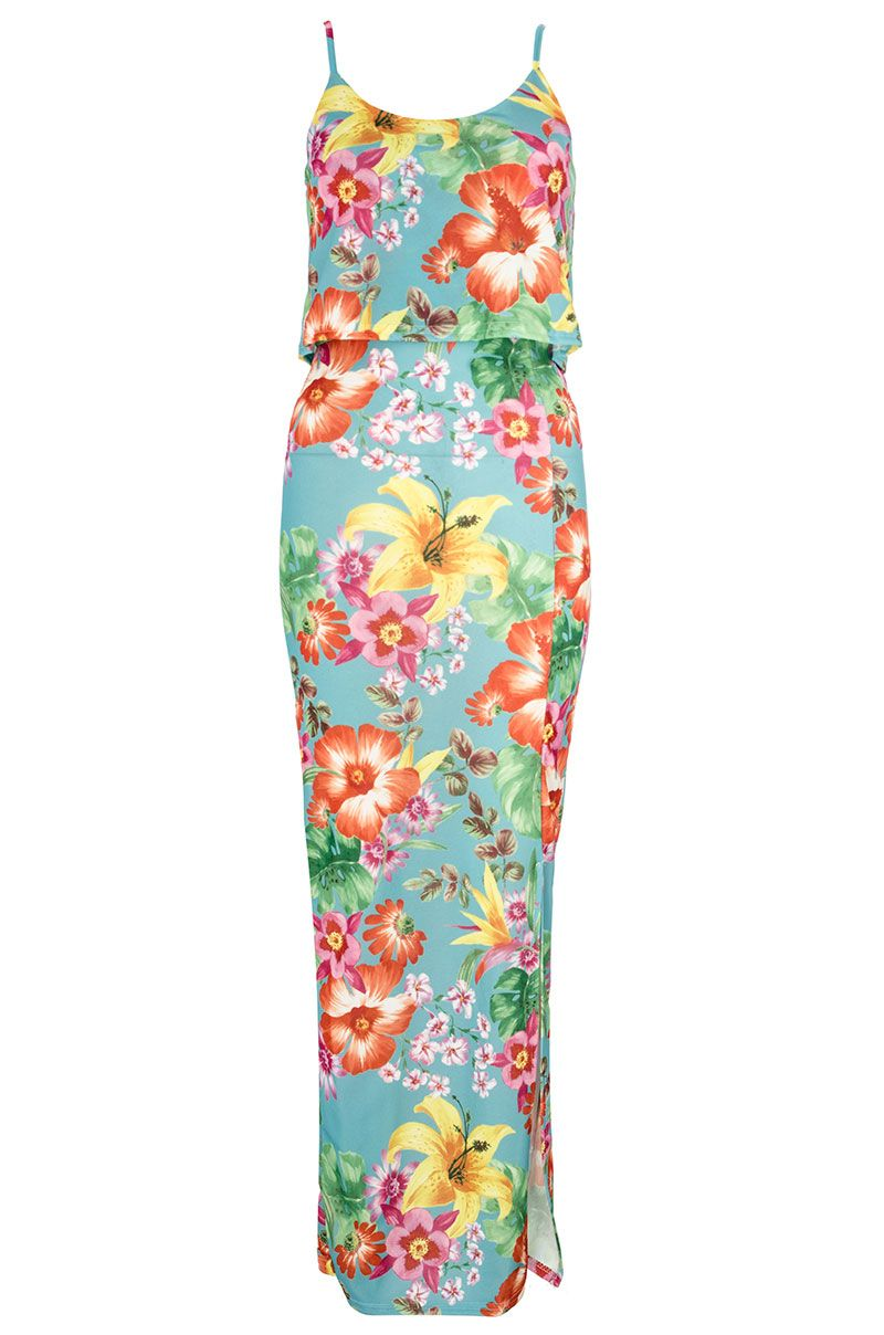 Crepe Tropical Print Maxi Dress
