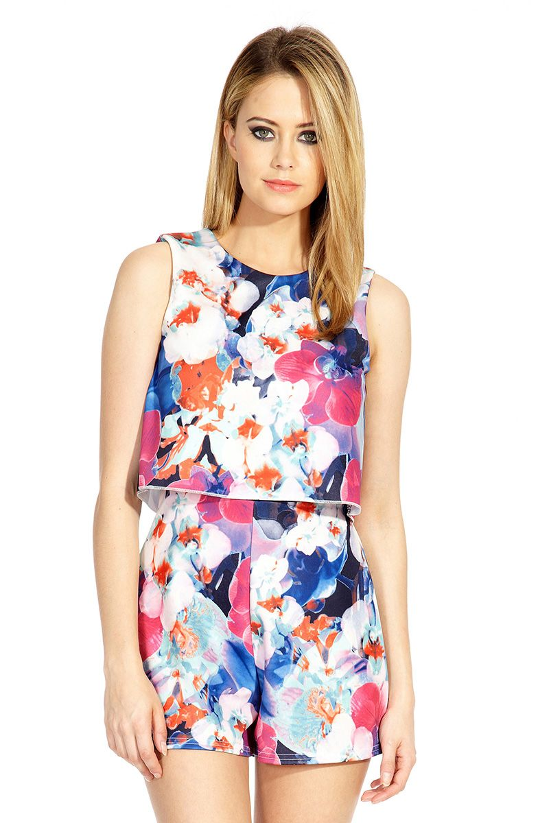 Floral print two layer playsuit