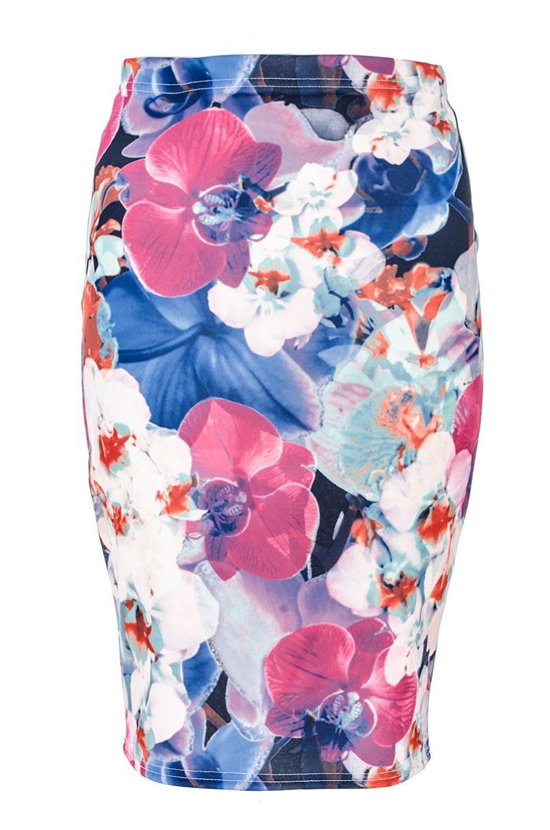 Abstract Flower Print Midi Skirt