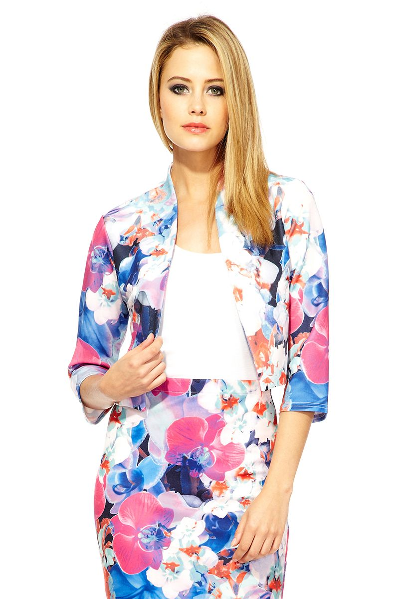 Abstract Flower Print Crop Jacket