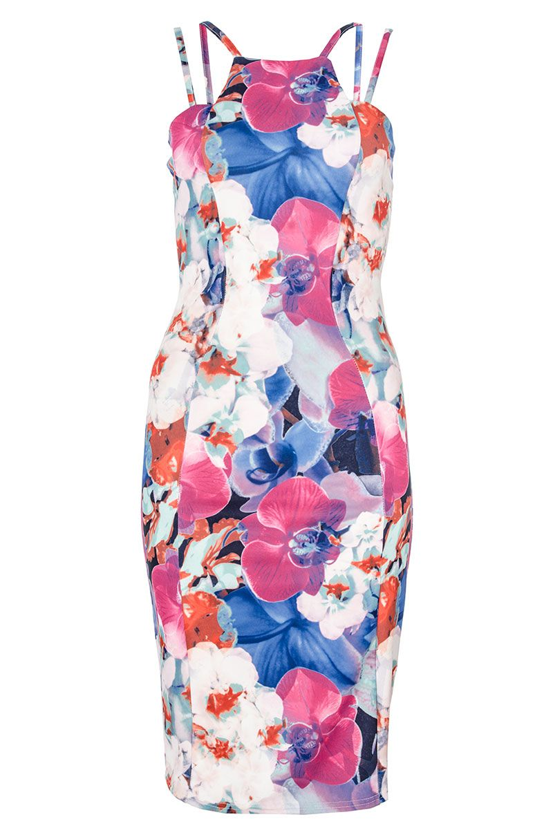 Abstract Floral Print Bodycon Dress