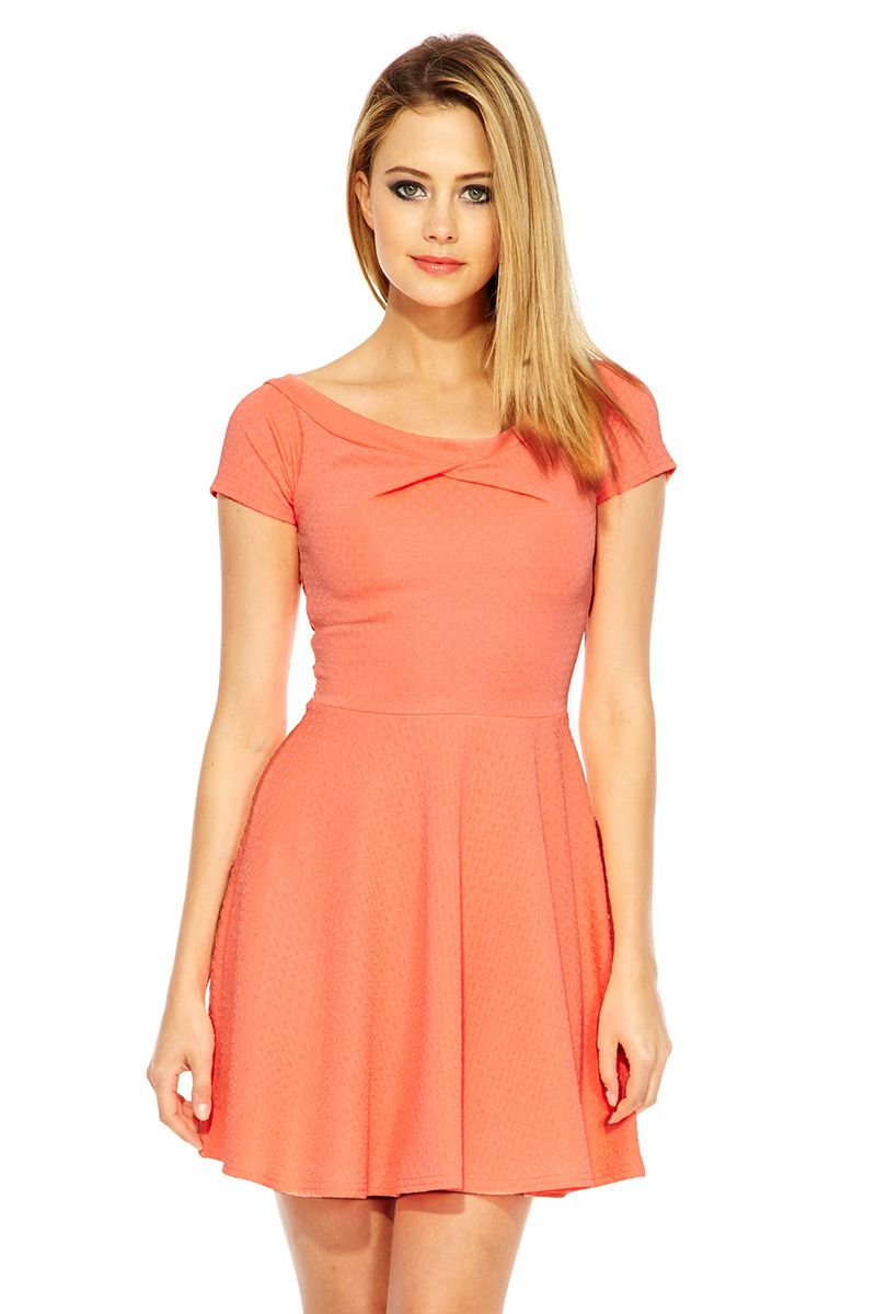Textured bardot skater dress