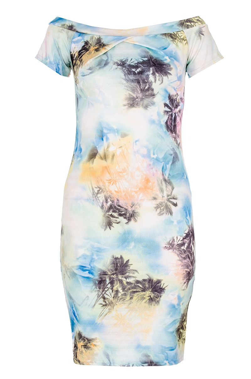 Palm Tree Print Bardot Dress