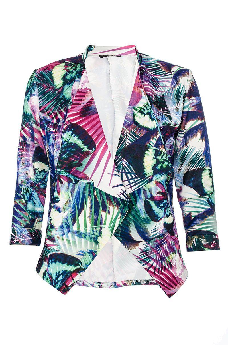 Tropical Print Waterfall Jacket