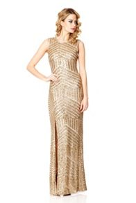 Sequin Zig Zag Split Maxi Dress