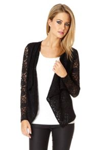 Lace Long Sleeve Waterfall Jacket