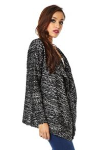 Knitted Lurex Sequin Waterfall Cardigan