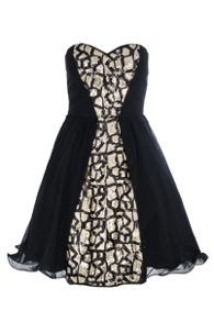 Chiffon Panel Embellished Prom Dress