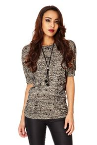 Print ruched necklace top